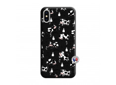 Coque iPhone X/XS Cow Pattern Silicone Noir
