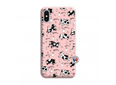 Coque iPhone X/XS Cow Pattern Silicone Rose