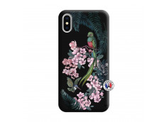 Coque iPhone X/XS Flower Birds Silicone Noir