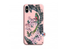 Coque iPhone X/XS Flower Birds Silicone Rose