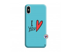 Coque iPhone X/XS I Love You Silicone Bleu