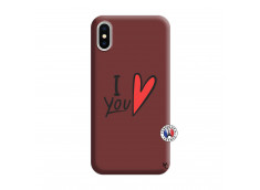Coque iPhone X/XS I Love You Silicone Bordeaux