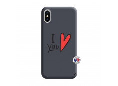 Coque iPhone X/XS I Love You Silicone Navy