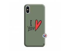 Coque iPhone X/XS I Love You Silicone Vert