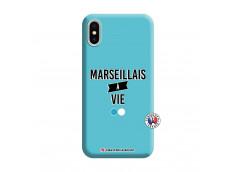 Coque iPhone X/XS Marseillais à Vie Silicone Bleu