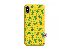 Coque iPhone X/XS Petits Serpents Silicone Jaune