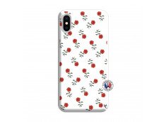 Coque iPhone X/XS Rose Pattern Silicone Blanc