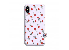 Coque iPhone X/XS Rose Pattern Silicone Lilas