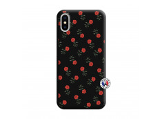 Coque iPhone X/XS Rose Pattern Silicone Noir
