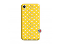 Coque iPhone XR Little Hearts Silicone Jaune