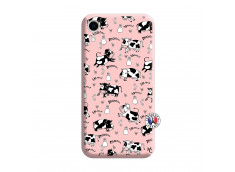 Coque iPhone XR Cow Pattern Silicone Rose