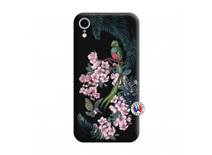 Coque iPhone XR Flower Birds Silicone Noir