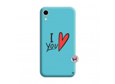 Coque iPhone XR I Love You Silicone Bleu