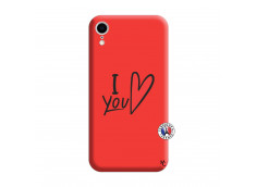 Coque iPhone XR I Love You Silicone Rouge