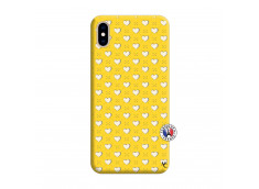 Coque iPhone XS MAX Little Hearts Silicone Jaune
