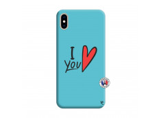 Coque iPhone XS MAX I Love You Silicone Bleu