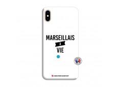 Coque iPhone XS MAX Marseillais à Vie Silicone Blanc