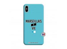 Coque iPhone XS MAX Marseillais à Vie Silicone Bleu