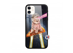 Coque iPhone 11 Cat Pizza Verre Trempe