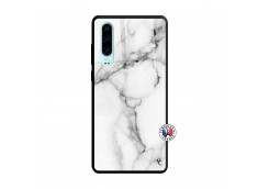 Coque Huawei P30 White Marble Verre Trempe