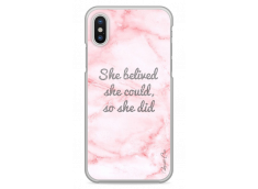 Coque iPhone X Pink Message Marble
