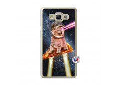 Coque Samsung Galaxy A7 2015 Cat Pizza Translu
