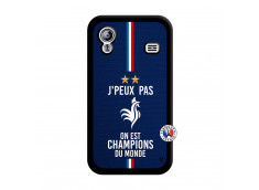 Coque Samsung Galaxy ACE Je Peux Pas On Est Les Champions Du Monde Noir