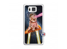 Coque Samsung Galaxy Alpha Cat Pizza Translu