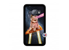 Coque Samsung Galaxy J1 2015 Cat Pizza Noir