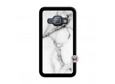 Coque Samsung Galaxy J1 2015 White Marble Noir