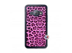 Coque Samsung Galaxy J1 2015 Pink Leopard Translu