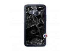 Coque Samsung Galaxy J1 2016 Black Marble Translu