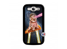 Coque Samsung Galaxy S3 Cat Pizza Noir