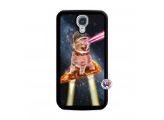 Coque Samsung Galaxy S4 Cat Pizza Noir