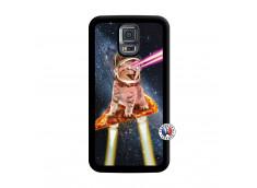 Coque Samsung Galaxy S5 Mini Cat Pizza Noir