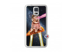 Coque Samsung Galaxy S5 Cat Pizza Translu