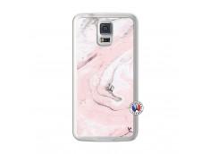 Coque Samsung Galaxy S5 Marbre Rose Translu