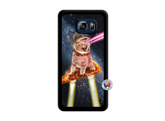 Coque Samsung Galaxy S6 Edge Plus Cat Pizza Noir