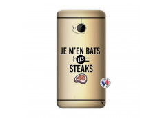 Coque HTC ONE M7 Je M En Bas Les Steaks