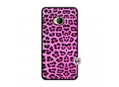 Coque HTC ONE M7 Pink Leopard Noir