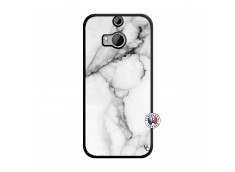 Coque HTC ONE M8 White Marble Noir