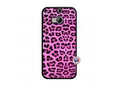 Coque HTC ONE M8 Pink Leopard Noir