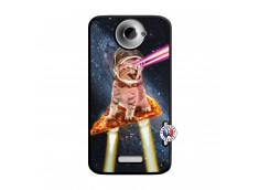 Coque HTC ONE X/XL Cat Pizza Noir