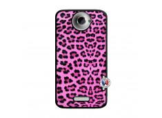 Coque HTC ONE X/XL Pink Leopard Noir