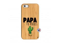 Coque iPhone 5/5S/SE Papa Tu Piques en Bois