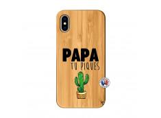 Coque iPhone X/XS Papa Tu Piques en Bois