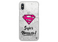 Coque iPhone X/XS Silver Glitter Super Maman