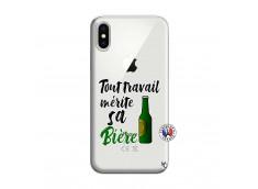 Coque iPhone X/XS Tout Travail Merite Sa Biere