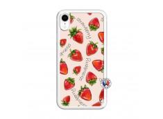 Coque iPhone XR Sorbet Fraise Translu