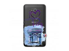 Coque Sony Xperia E4G I Love Paris Arc Triomphe